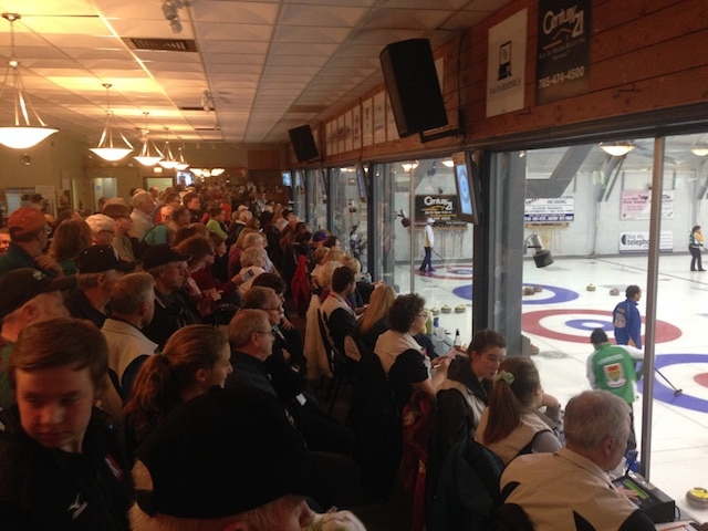 A full house at North Bay Granite watches Draw 12 action at the 2015 Canadian Mixed Curling Championship (Brian Doherty Photography)