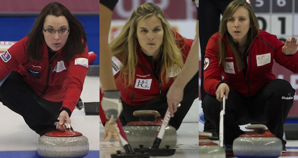 Val Sweeting, Jennifer Jones and Rachel Homan are all headed to Moose Jaw, Sask., for the 2015 Scotties. (Photos, CCA/Michael Burns)