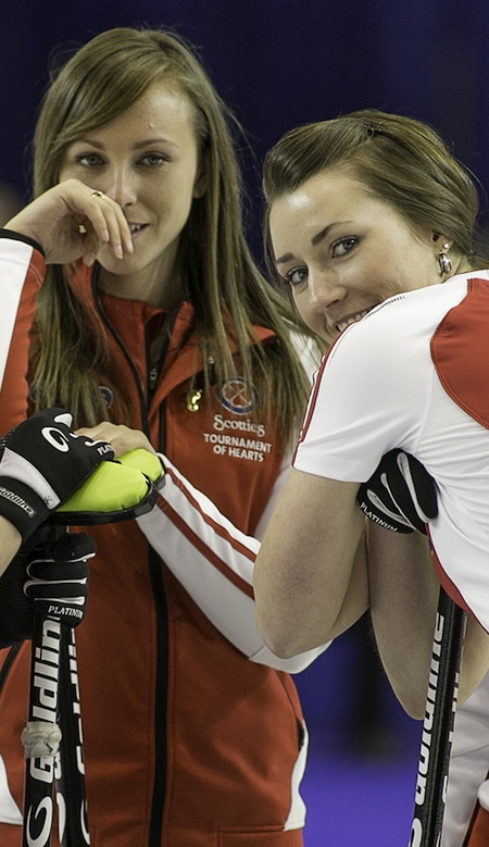 Rachel Homan and Emma Miskew were all smiles during their win on Monday afternoon. (Photo, CCA/Andrew Klaver)