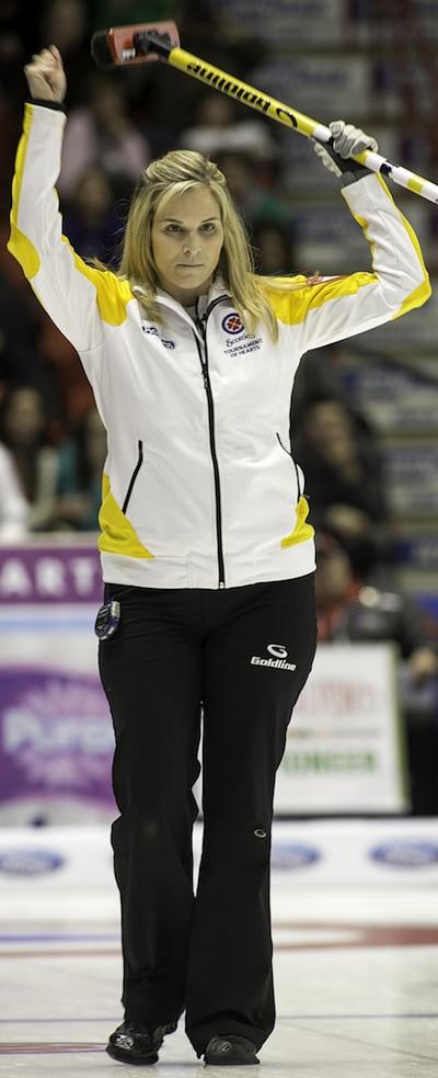 Manitoba skip Jennifer Jones celebrates her win on Monday. (Photo, CCA/Andrew Klaver)
