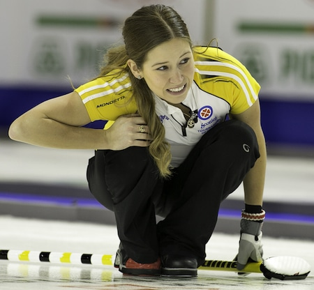 Manitoba third Kaitlyn Lawes watches her shot. (Photo, CCA/Andrew Klaver)