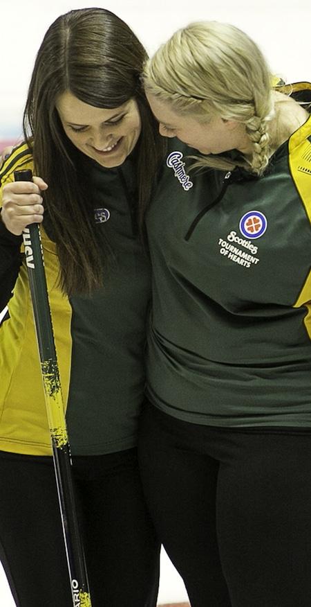 Tracy Horgan, left, and Amanda Gates celebrate their win over Ontario on Thursday. (Photo, CCA/Andrew Klaver)