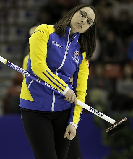 Alberta skip Val Sweeting uses a little body English on her shot. (Photo, CCA/Andrew Klaver)