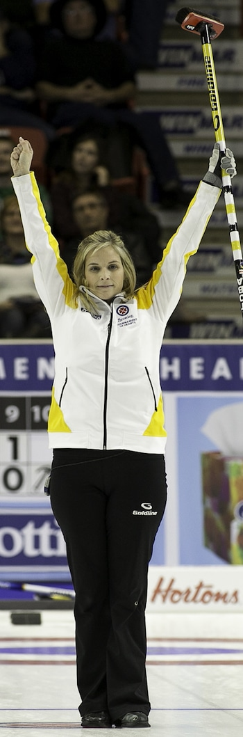 Manitoba skip Jennifer Jones celebrates her Page playoff 1-2 win over Alberta's Val Sweeting. (Photo, CCA/Andrew Klaver)