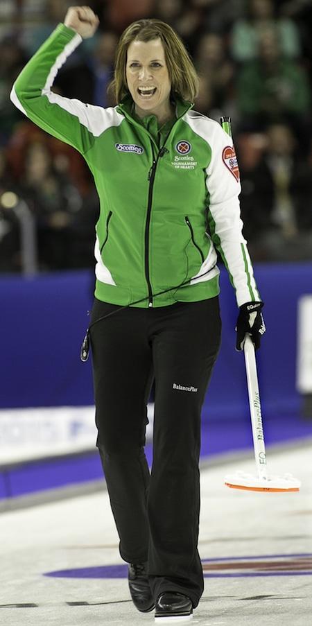 Saskatchewan skip Stefanie Lawton celebrates her game-winning shot against Team Canada. (Photo, CCA/Andrew Klaver)