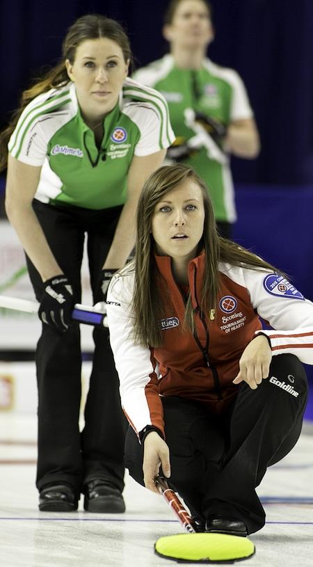 Team Canada skip Rachel Homan watches her shot, as Saskatchewan second Stephanie Schmidt looks on. (Photo, CCA/Andrew Klaver)