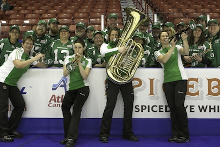 Team Saskatchewan did a little pre-game entertaining on Sunday with the Roughrider Pep Band. (Photo, CCA/Andrew Klaver)