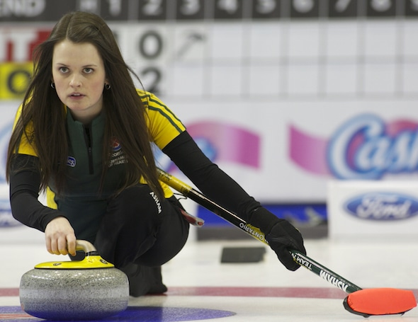 Northern Ontario's Tracy Horgan got off to a great start in the pre-qualifying round of the 2015 Scotties Tournament of Hearts. (Photo, CCA/Andrew Klaver)