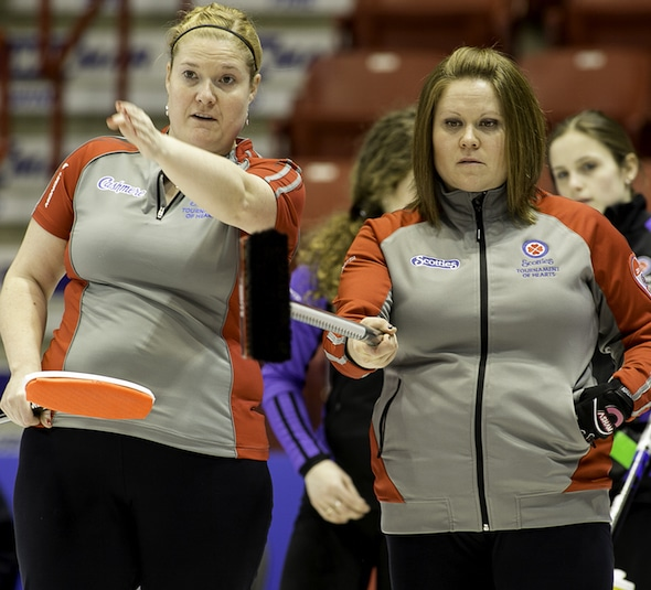 Shona Barbour, left, and Kerry Galusha discuss shot options on Friday. (Photo, CCA/Andrew Klaver)