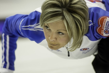 B.C. skip Patti Knezevic and her team picked up their first win on Monday. (Photo, CCA/Andrew Klaver)