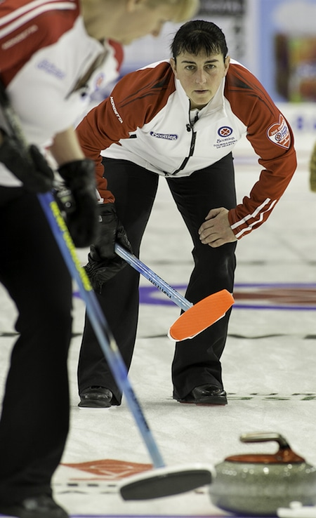 Newfoundland/Labrador skip Heather Strong watches her shot during Sunday's win over P.E.I. (Photo, CCA/Andrew Klaver)