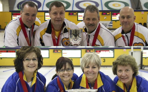 2015 Everest Canadian Seniors gold-medallists. Team Manitoba men, top, from left, lead Dale Michie, second Peter Nicholls, third Dean Moxham and skip Randy Neufeld. Team Alberta women, from left, lead Cheryl Meek, second Sandy Bell, third Judy Pendergast, skip Terri Loblaw.