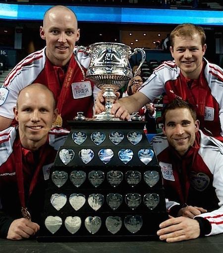 Team Canada, clockwise from bottom left, skip Pat Simmons, lead Nolan Thiessen, second Carter Rycroft and third John Morris. (Photo, Curling Canada/Michael Burns)
