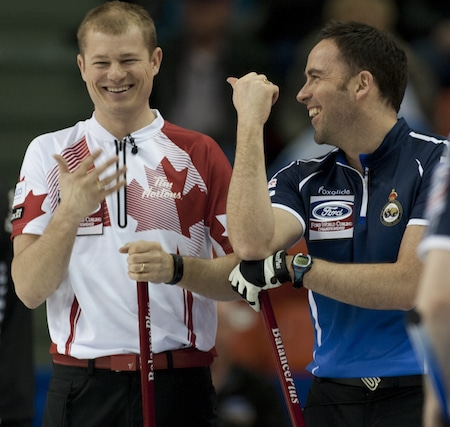 Carter Rycroft and Scottish vice-skip David Murdoch share a chuckle during Tuesday afternoon's games. (Photo, Curling Canada/Michael Burns)