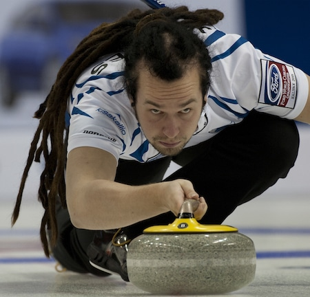 Finland's Pauli Jäämies delivers rock. (Photo, Curling Canada/Michael Burns)