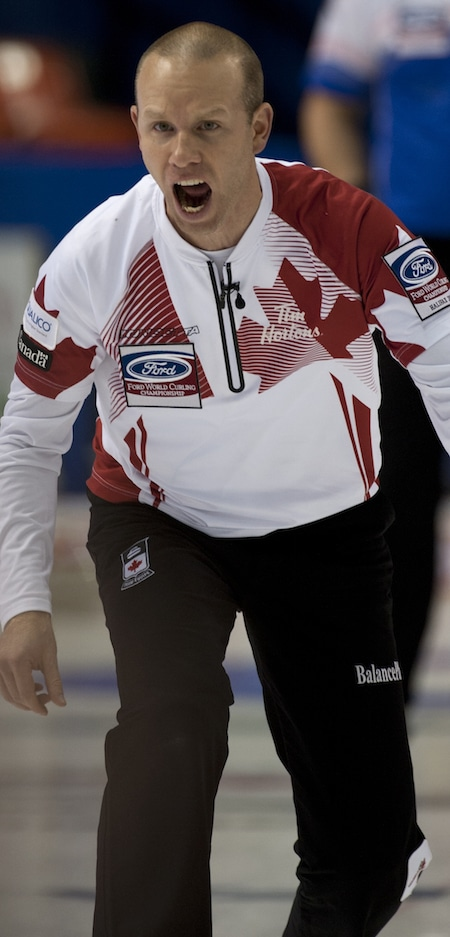 Team Canada skip Pat Simmons shows his intensity during Monday's win over the Czechs. (Photo, Curling Canada/Michael Burns)