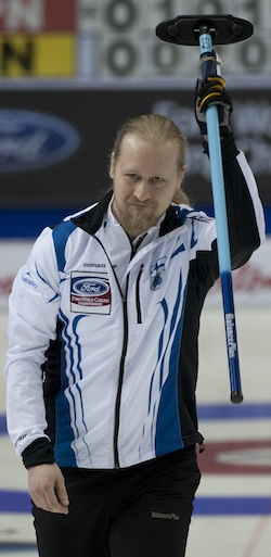 Finland skip Aku Kauste celebrates his win on Monday. (Photo, Curling Canada/Michael Burns)