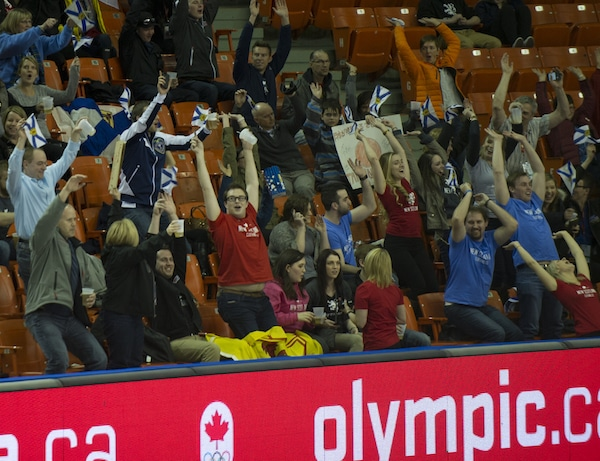 Finland's Aku Kauste, front, will play for the bronze medal on Sunday. (Photo, Curling Canada/Michael Burns)