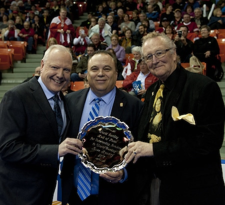 Three new members of the World Curling Hall of Fame, from left, Russ Howard, Randy Ferbey and Ray Turnbull. (Photo, Curling Canada/Michael Burns)