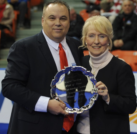 New World Curling Hall of Fame member Randy Ferbey, left, and World Curling Federation president Kate Caithness. (Photo, Curling Canada/Michael Burns)