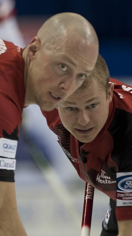Team Canada's Nolan Thiessen and Carter Rycroft show their intensity on Thursday. (Photo, Curling Canada/Michael Burns)