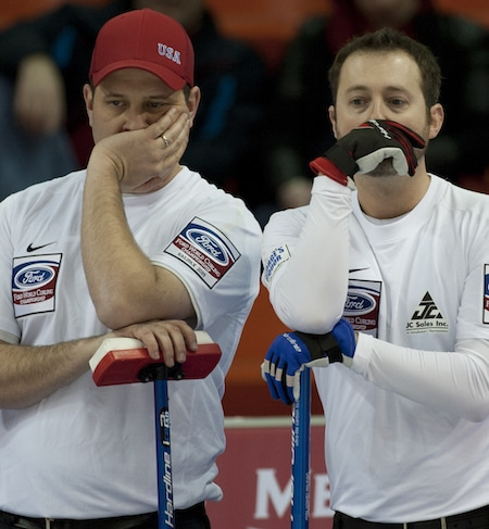John Shuster, left, and Tyler George of Team U.S.A. (Photo, Curling Canada/Michael Burns)