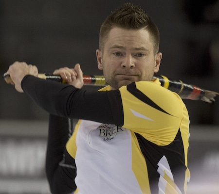 Manitoba skip Mike McEwen looks on as his shot goes awry during Monday night's loss to Alberta. (Photo, Curling Canada/Michael Burns)