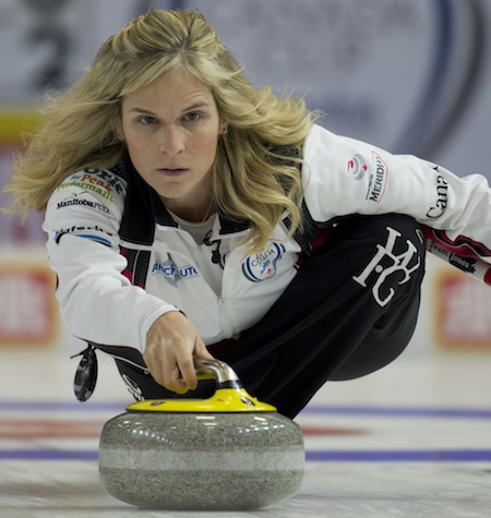 Jennifer Jones of Winnipeg delivers a shot during Draw 1 action on Wednesday. (Photo, Curling Canada/Michael Burns)
