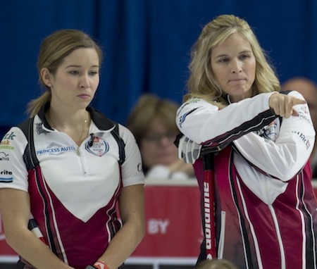 Jennifer Jones, right, and Kaitlyn Lawes ponder options during their win over Team Carey on Thursday. (Photo, Curling Canada/Michael Burns)