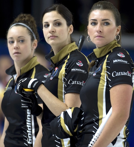 From left, Joanne Courtney, Lisa Weagle and Emma Miskew from Team Homan. (Photo, Curling Canada/Michael Burns).
