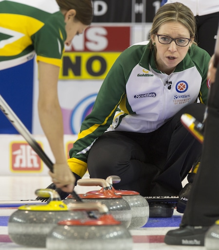 Northern Ontario skip Krista McCarville assesses the situation. (Photo, Curling Canada/Andrew Klaver)