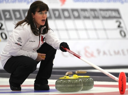 Alberta's Cathy King won gold at the 2013 World Seniors in Fredericton, N.B. (Photo, World Curling Federation)