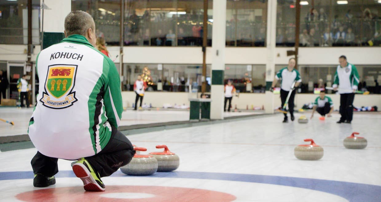 Saskatchewan skip Kory Kohuch calls the line during action at the Travelers Curling Club Championship in Kelowna, B.C. (Curling Canada/Jessica Krebs photo)