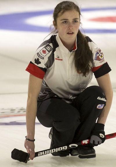 Fresh off winning the world junior women's gold medal, Kristin Clarke will skip the Dalhousie Tigers in Kelowna. (Photo, WCF/Marissa Tiel)