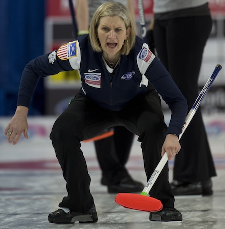Erika Brown of the U.S. calls instructions to sweepers during Tuesday's win over the U.S. (Photo, Curling Canada/Michael Burns)