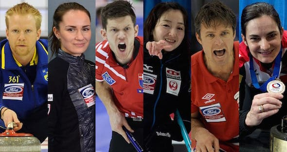 The six Team World skips: from left, Niklas Edin (Sweden), Anna Sidorova (Russia), Rasmus Stjerne (Denmark), Satsuki Fujisawa (Japan), Thomas Ulsrud (Norway), Binia Feltscher (Switzerland). (Photos, Curling Canada, World Curling Federation)
