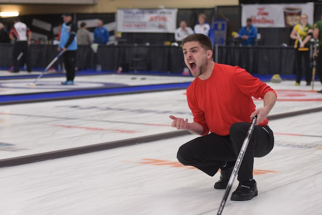 Newfoundland and Labrador skip Adam Boland calls to his sweepers during action at the 2017 Canadian Mixed Curling Championship (Curling Canada photo)