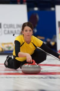 Kerri Einarson, third on Team Manitoba, in action at the 2017 Canadian Mixed Curling Championship (Curling Canada/Robert Wilson photo)