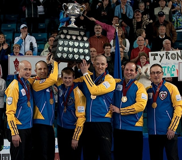 Kamloops B.C.Mar9_2014.Tim Hortons Brier.Alberta skip Kevin Koe,third Pat Simmons,second Carter Rycroft,lead Nolan Thiessen.Jamie King.Coach John Dunn.CCA/michael burns photo