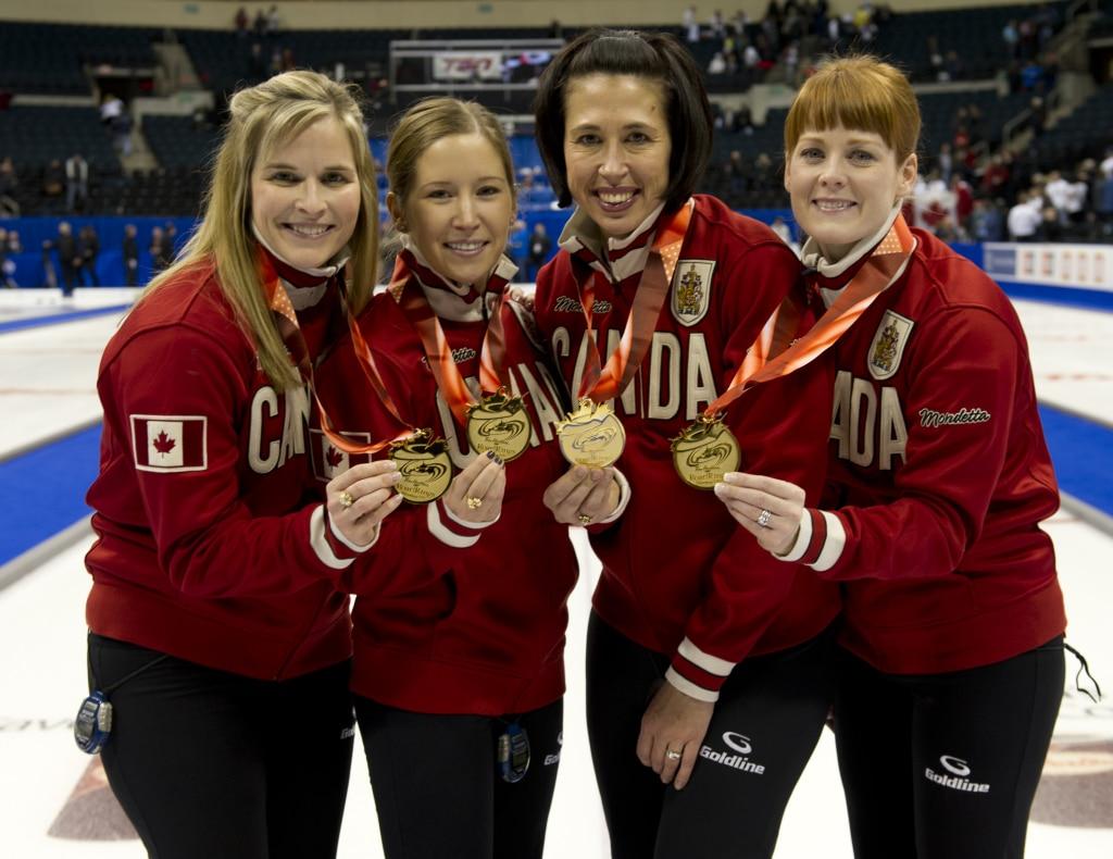 Winnipeg Mb. Tim Hortons Roar of the Rings 2013.skip Jennifer Jones,third Kaitlyn Lawes,second Jill Officer,lead Dawn McEwen.CCA/michael burns photo