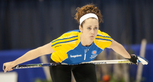 Team Alberts second Dana Ferguson, during draw one action at the 2014 Scotties tournament of Hearts