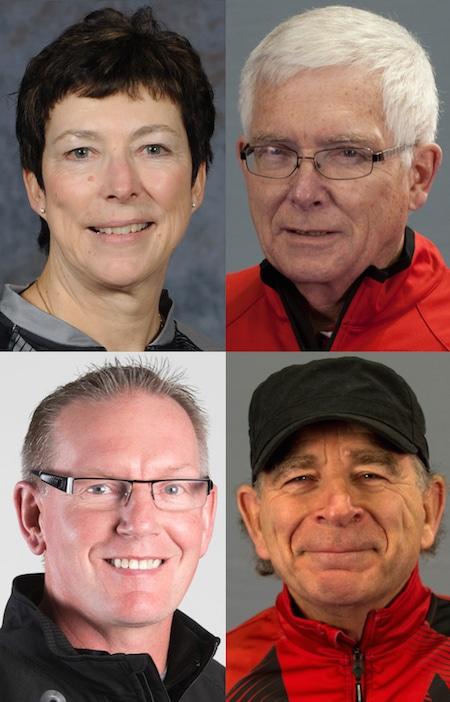 À droite en haut à gauche, Janet Arnott, Tom Coulterman, Earle Morris et Joe Rea étaient bénéficiaires de l'Association des entraîneurs de Prix d'excellence Petro-Canada au Canada.