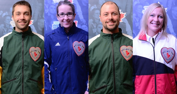 The 2015 Canadian Mixed Curling Championship all-stars, from left, Northern Ontario skip Colin Koivula, Nova Scotia third Christina Black, Northern Ontario second Chris Briand, Ontario lead Jessica Barcauskas (Brian Doherty Photography)