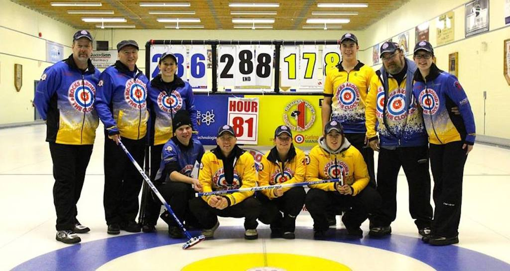 The curlers, after 288 ends: (left to right) Bill Pearce, Perry Marshall, Corrine Bertolo,  Andrew Vanbodegom, Stephen Collins, Lauren Grealy, Amanda Pearce, Michael Foster, Jeff Vanbodegom, Brittany Pearce (Photo Clarissa Yahn)