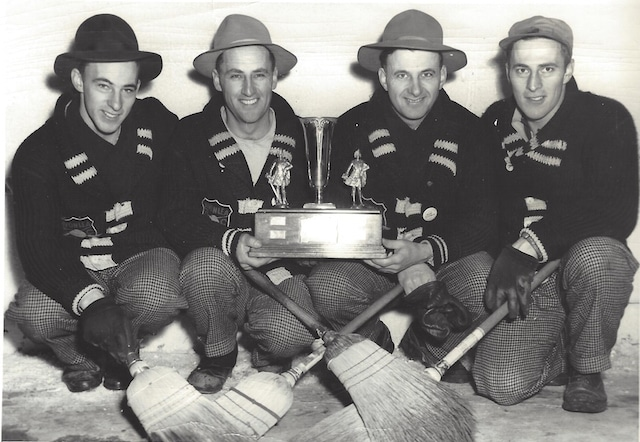 The curling Campbell brothers in 1947 (l-r): Garnet, Lloyd, Glen, Gordon. (Photo courtesy Campbell family)