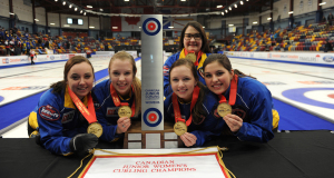 2015  Corner Brook Nfld, M&M  Meat Shops Canadian Jr.Curling Championship,  Alberta Skip Kelsey Rocque, third Danielle Schmiemann, second Holly Jamieson, Jessica Iles,coach Amanda-Dawn Coderre, CCA/michael burns photo