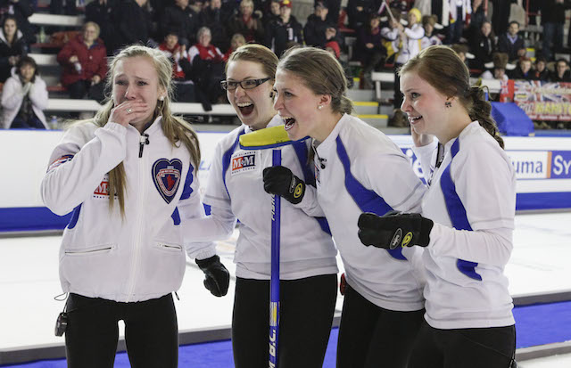 Team B.C. celebrates on the ice immediately after winning the women's event at the 2013 M&M Meat Shops Canadian Junior Curling Championships: (L-R) skip Corryn Brown, second Sam Fisher, third Erin Pincott, lead Sydney Fraser (CCA Photo)