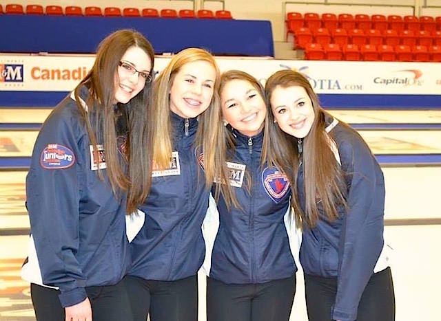 Team Nova Scotia(L-R): Mary Fay, Jennifer Smith, Karlee Burgess and Janique LeBlanc will compete at the 2015 M&M Meat Shops Canadian Junior Curling Championships in Corner Brook, N.L., and 2015 Canada Winter Games in Prince George, B.C. (Photo courtesy Jennifer Smith)