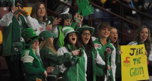 2015  Corner Brook Nfld, M&M  Meat Shops Canadian Jr.Curling Championship, Saskatchewan Fans, CCA/michael burns photo