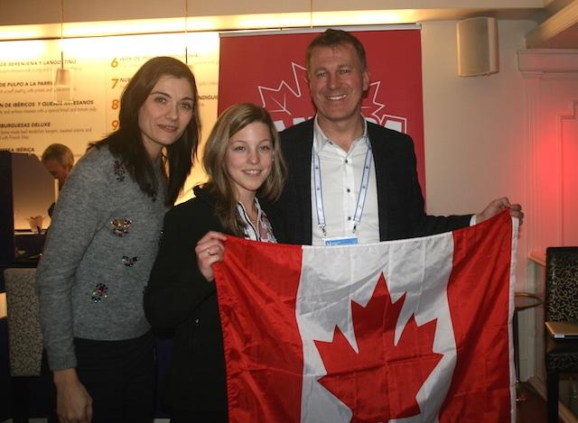 L-R: Carla Goncalves (Canadian Embassy), Breanne Meakin, Darren Cates (Chef de Mission) (CIS Photo)